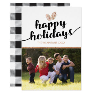 Photo Christmas Holiday Pine Cones | Black White Card