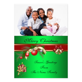 Photo Christmas Red Green Party Greetings Photo Announcement