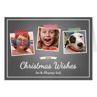 Photo Christmas Wishes Holiday Chalkboard Folded Greeting Card