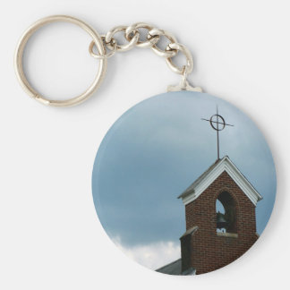 Photo Church Steeple in Storm Religious Keychain