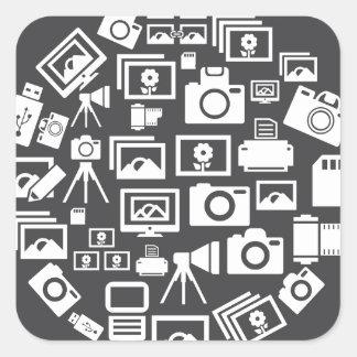 Photo circle square sticker