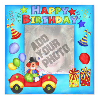 Photo Clown Birthday Card 13 Cm X 13 Cm Square Invitation Card