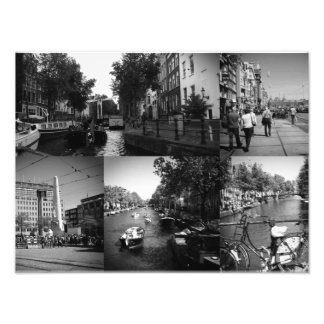 Photo collage Amsterdam 1 in black and white