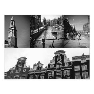 Photo collage Amsterdam 2 in black and white