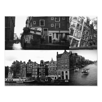 Photo collage Amsterdam 3 in black and white
