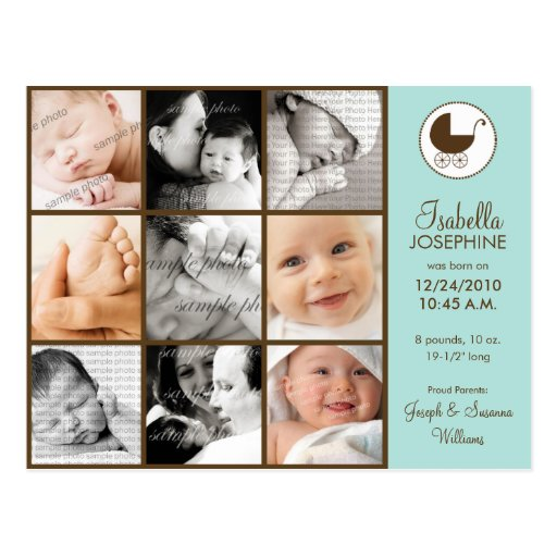 Photo Collage Aqua Green Baby Birth Announcement Post Card