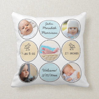 Photo Collage Baby Boy Name, birth stats and duck Cushions