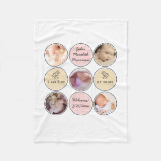 Photo Collage Baby Girl Name, birth stats and duck Fleece Blanket