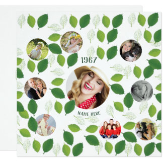 PHOTO COLLAGE  Birthday Invitation Green Leaves