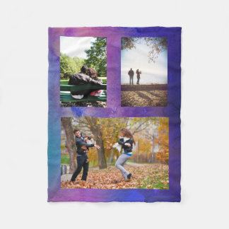 Photo Collage Blanket Purple Watercolor