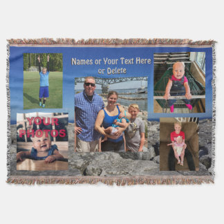 Photo Collage Blanket with Your 5 Photos and Text