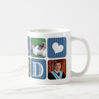 Photo Collage Blue Basic White Mug