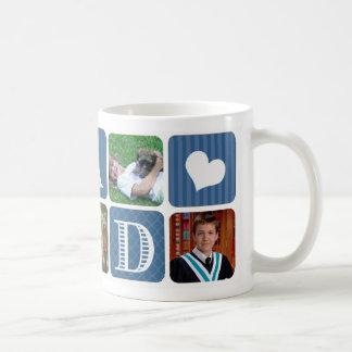 Photo Collage Blue Basic White Mug