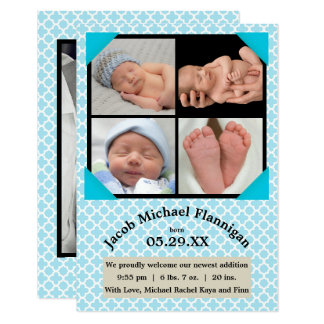 Photo Collage Blue Boy - 3x5 Birth Announcement