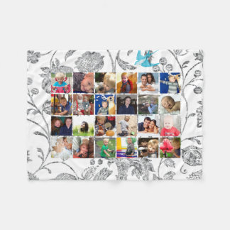 Photo Collage Blue Gray Floral Family Photos Fleece Blanket