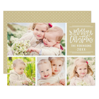 Photo Collage Card | Tan Merry Christmas