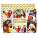 Photo Collage Christmas Card | Gold Chevron 13 Cm X 18 Cm Invitation Card