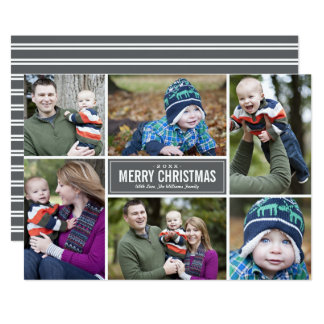 Photo Collage Christmas Greeting Card | Gray