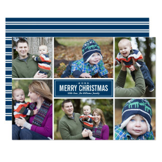 Photo Collage Christmas Greeting Card | Navy Blue