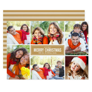 Photo Collage Christmas Greeting | Cognac Brown Card