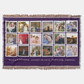 Photo Collage Custom Color Throw Blanket