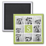 Photo Collage Custom Monogram - Lime Green