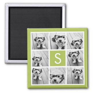 Photo Collage Custom Monogram - Lime Green Square Magnet