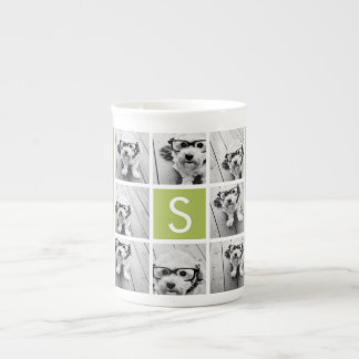 Photo Collage Custom Monogram - Lime Green Tea Cup