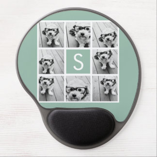 Photo Collage Custom Monogram Mint Green Gel Mouse Pad