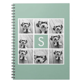 Photo Collage Custom Monogram Mint Green Notebooks