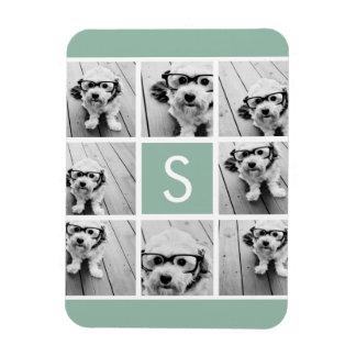 Photo Collage Custom Monogram Mint Green Rectangular Photo Magnet