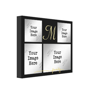 Photo Collage, FAMILY Title in Gold (edit color) Canvas Print