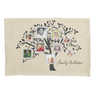 Photo Collage Family Tree Template Personalized Pillowcase