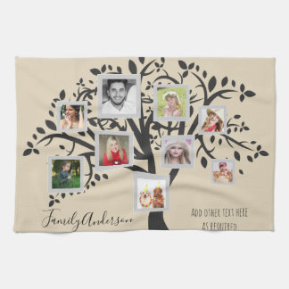 Photo Collage Family Tree Template Personalized Tea Towel