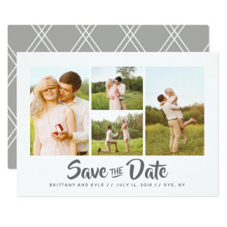 Photo Collage Grid Save The Date Card
