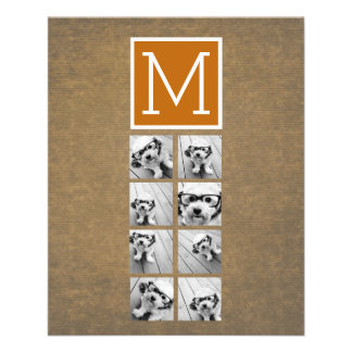 Photo Collage Monogram - Rustic Kraft and Orange 11.5 Cm X 14 Cm Flyer