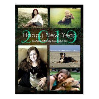 Photo Collage Neon Green Happy New Year Postcard
