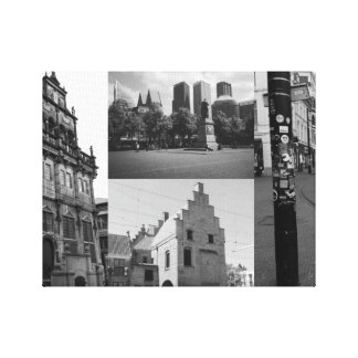 Photo collage of The Hague 1 in black and white Canvas Print