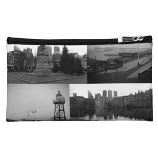 Photo collage of The Hague 3 in black and white Makeup Bag