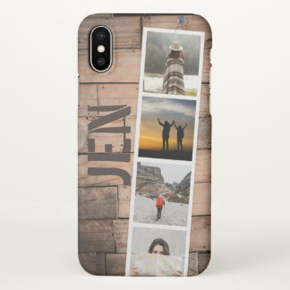 Photo Collage of Travel Memories Natural Barn Wood iPhone X Case