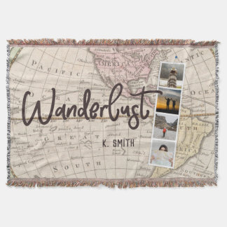 Photo Collage of Travel Memories. Wanderlust. Throw Blanket