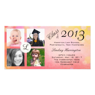 Photo Collage Pink Girl Graduation Announcement Photo Cards
