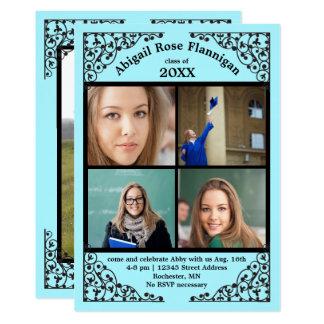 Photo Collage Teal Lace - Graduation Announcement