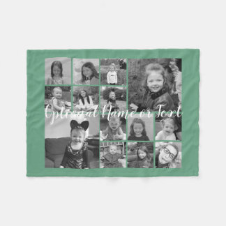 Photo Collage Up to 14 photos CAN EDIT COLOR Fleece Blanket