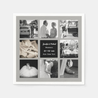 PHOTO COLLAGE Wedding Vow Renewal Anniversary Grey Disposable Napkins