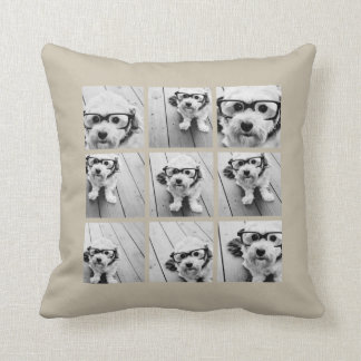 Photo Collage with 9 square photos - Taupe Throw Pillow