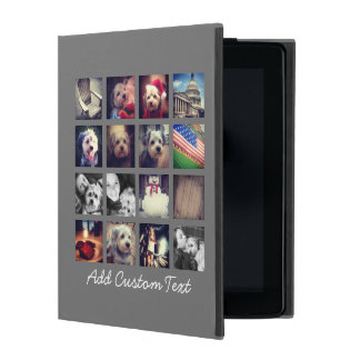 Photo Collage with Charcoal Background - 16 pics iPad Folio Cases