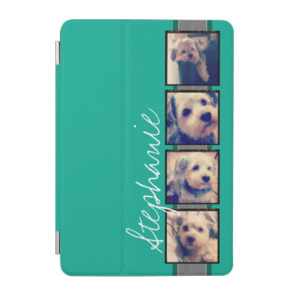 Photo Collage with Emerald Green Custom Name iPad Mini Cover