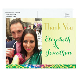 Photo, Colorful Boho Wedding ThankYou postcard