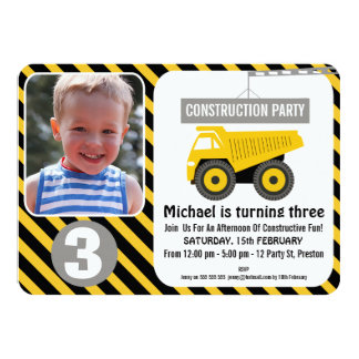 Photo Construction Truck Birthday Invitation